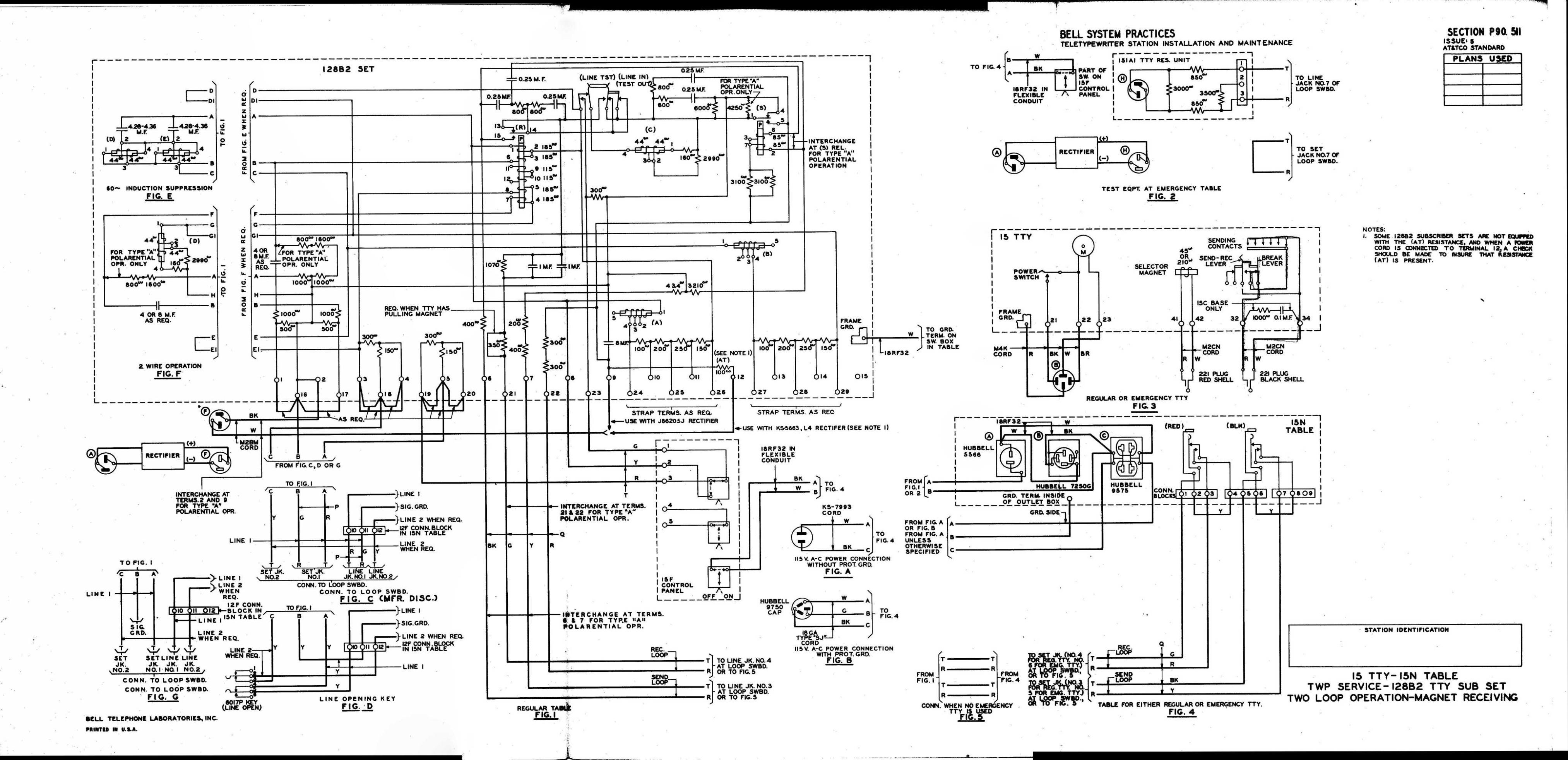Teletype Wiring Diagrams And Schematics P90 Diagram 2 P90511 Link 15 Tty 15n Table 128b2 Sub Set Two Loop Twp Service
