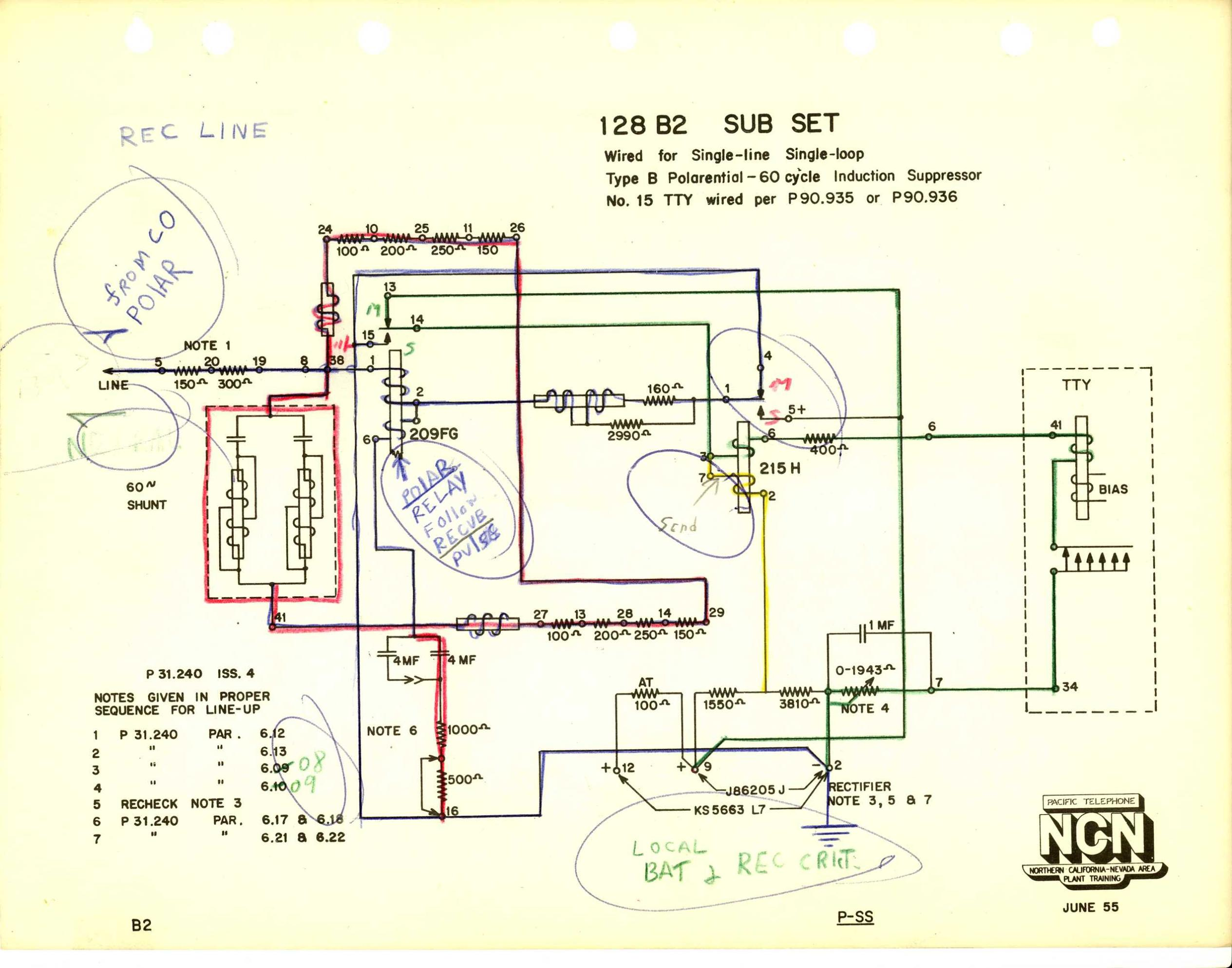 Teletype Wiring Diagrams And Schematics Current Loop Diagram 128b2 Link Sub Set Type B Polarential Single Line