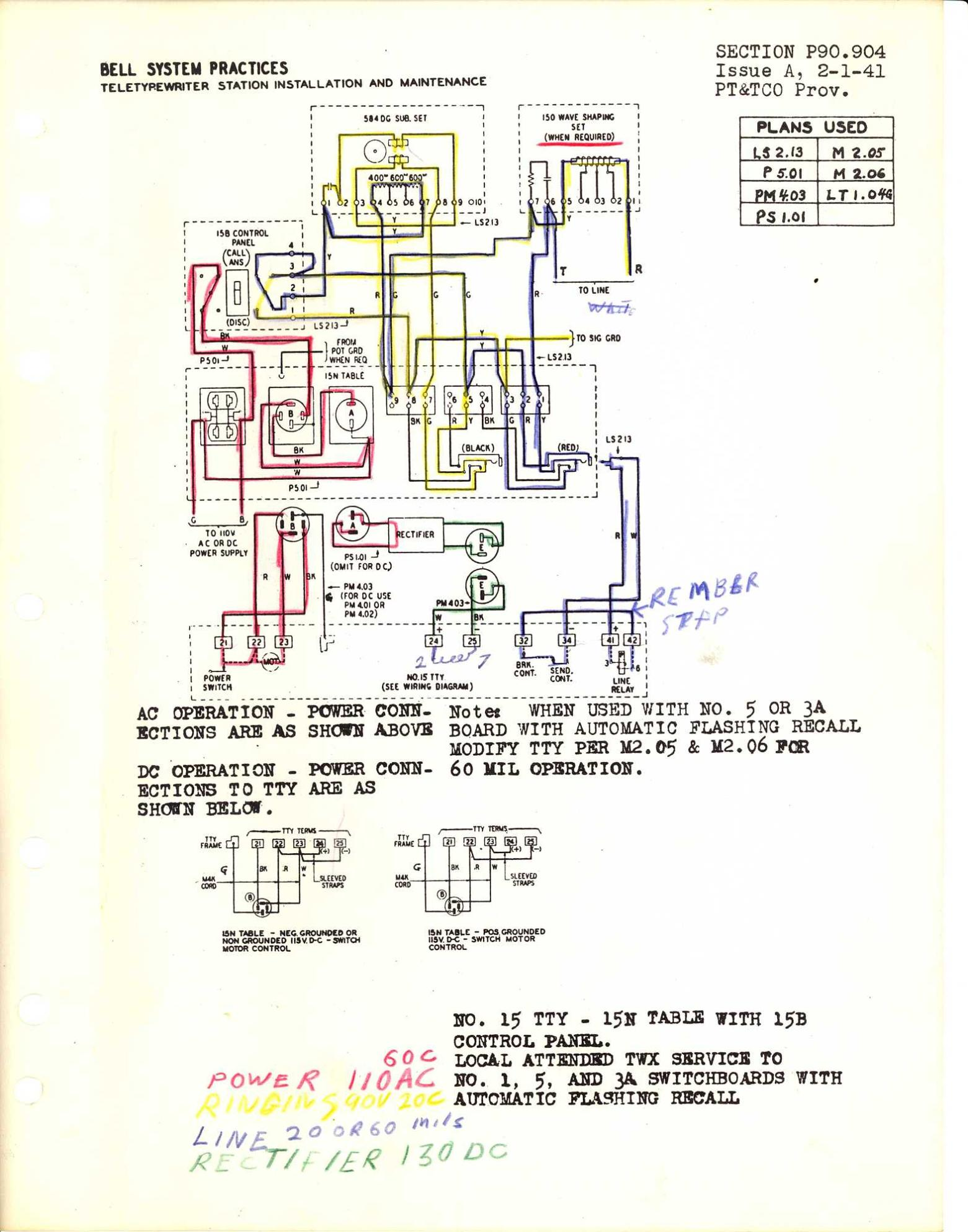 Teletype Wiring Diagrams And Schematics P90 Diagram 2 P90904 Link
