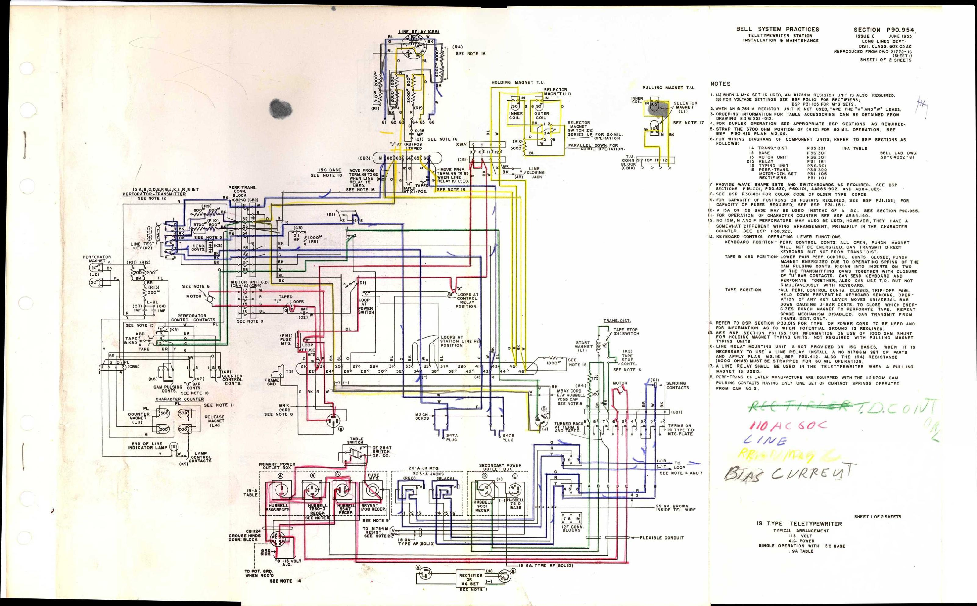 tty28 S 22c teletype wiring diagrams and schematics western electric 202 wiring diagram at bakdesigns.co