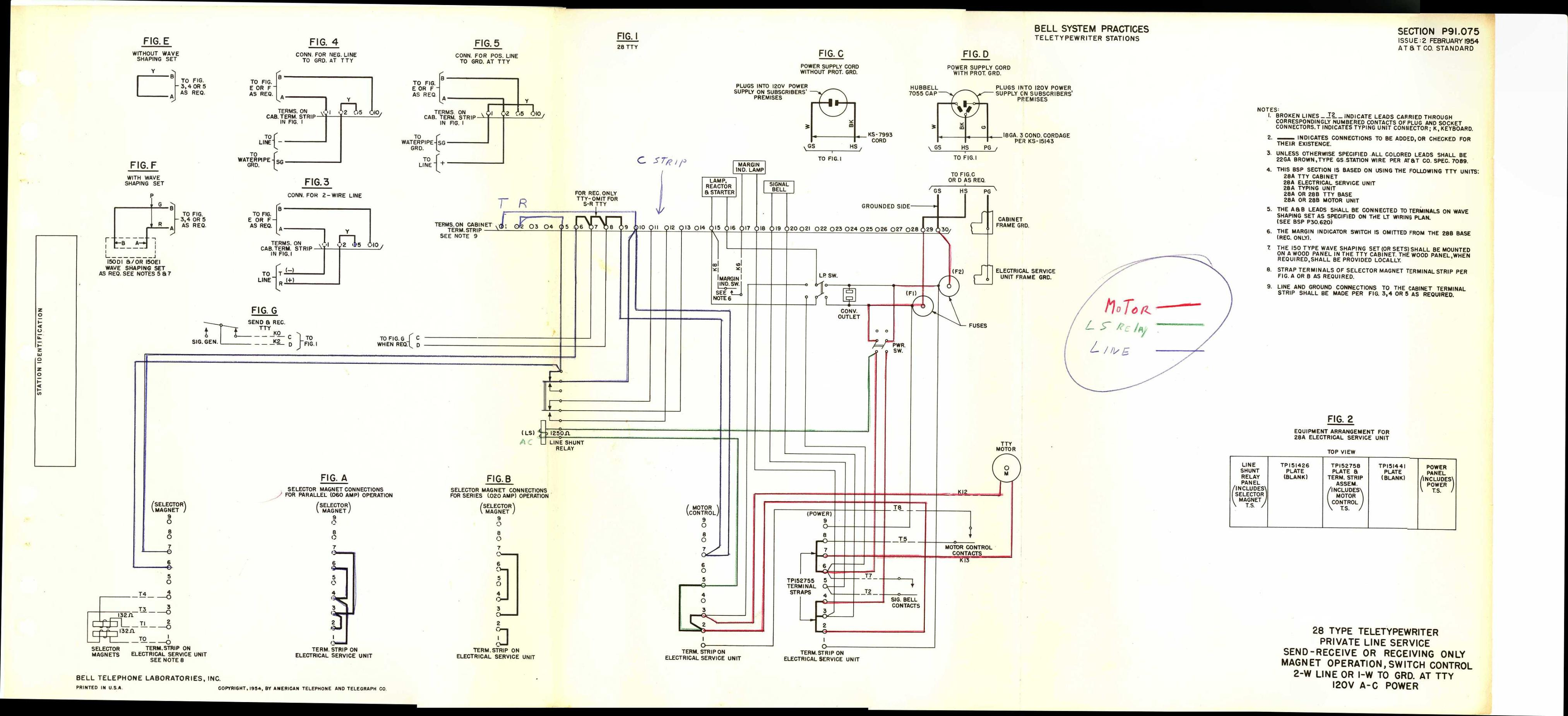 teletype wiring diagrams  schematics