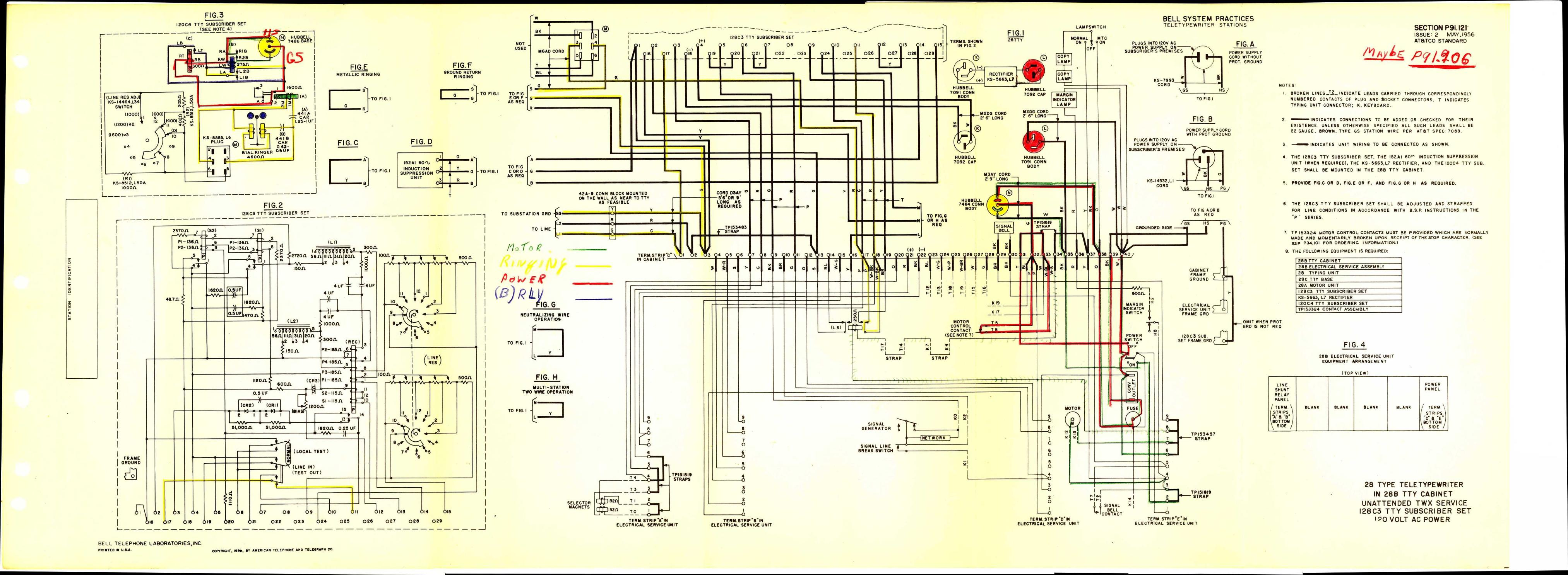 Teletype Wiring Diagrams And Schematics Multiple Start Stop Station Diagram P91121 Link
